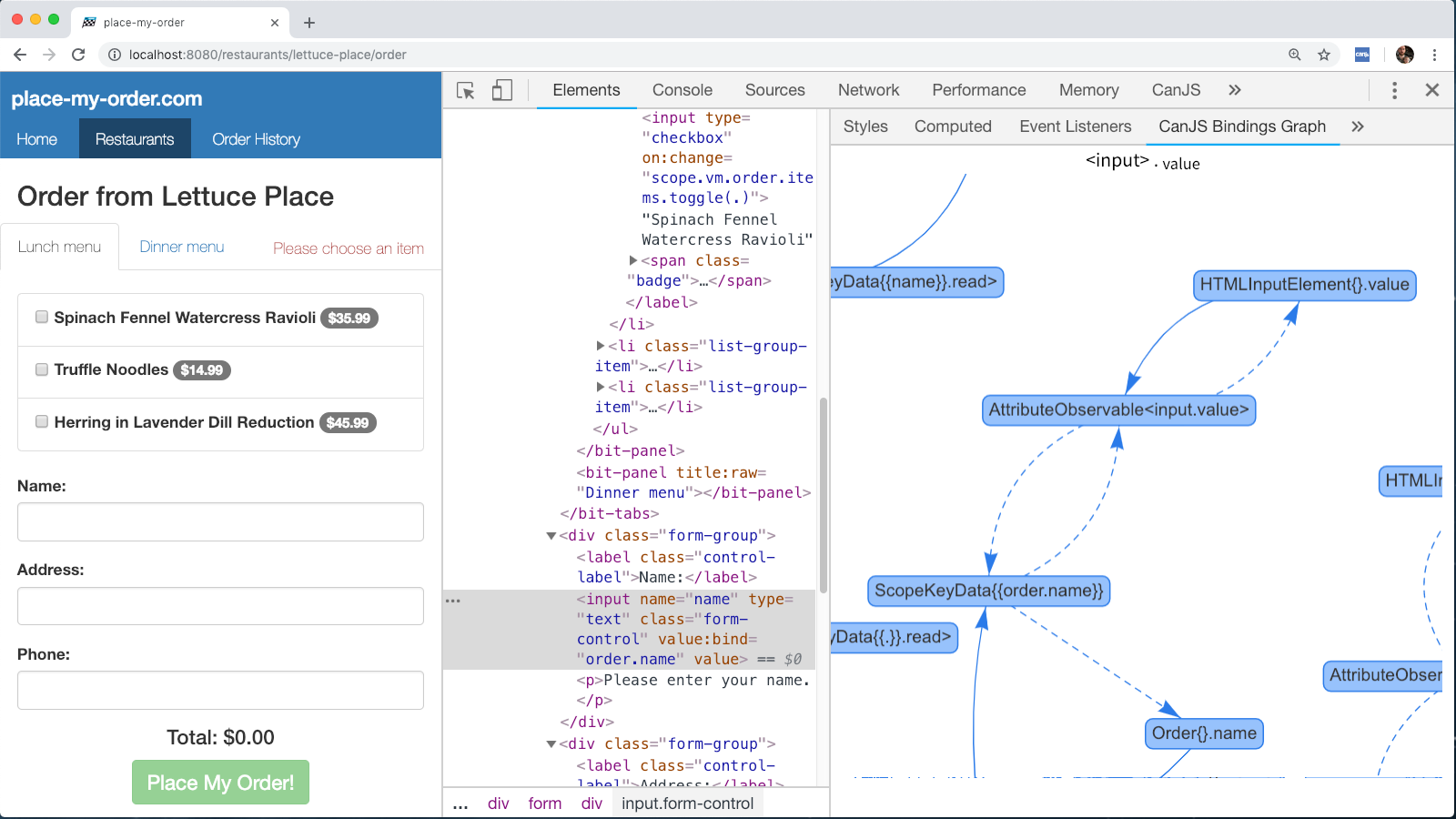 The CanJS Devtools Bindings Graph for Element