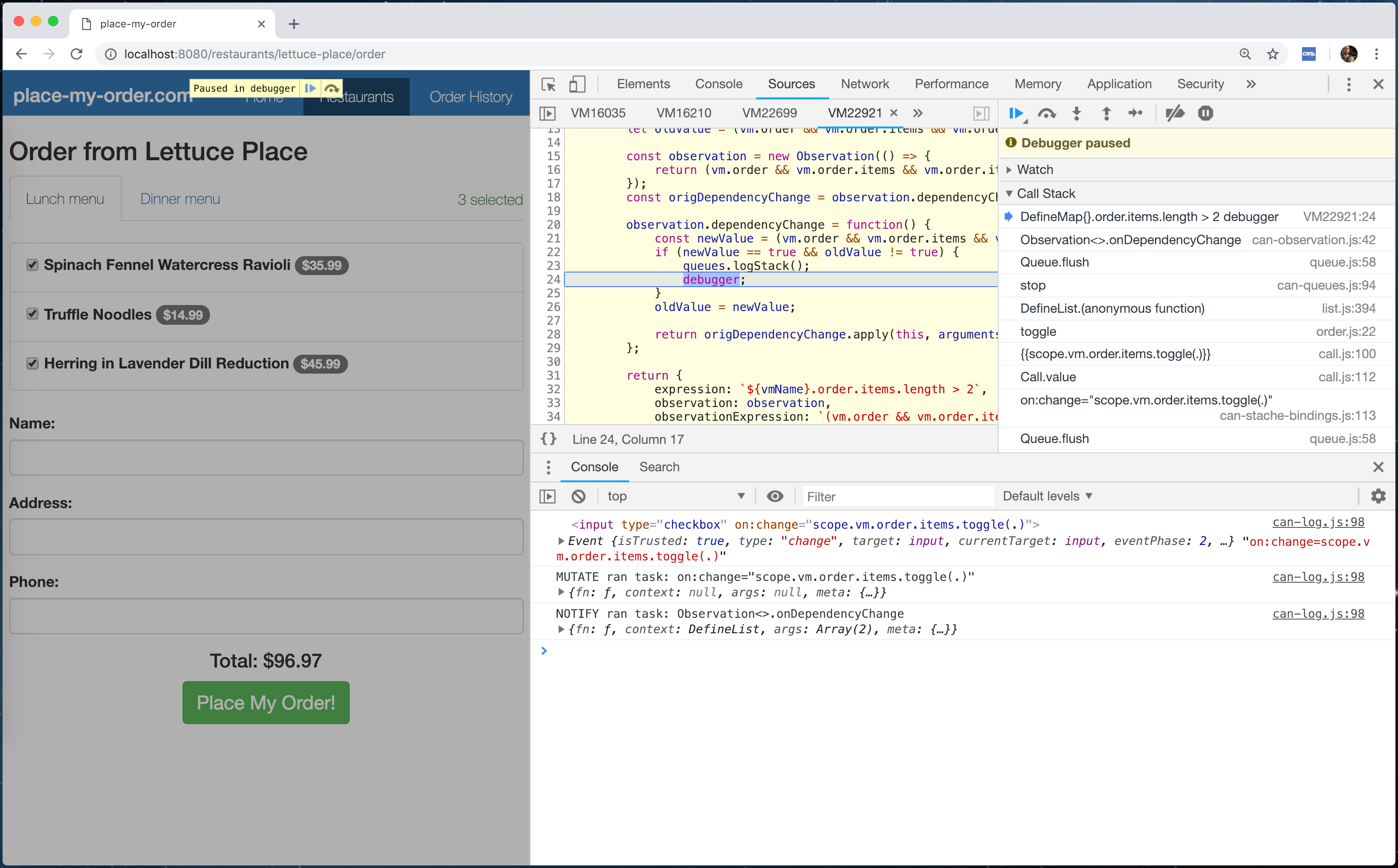The CanJS Devtools Panel Breakpoints Editor Boolean Breakpoint Debugger