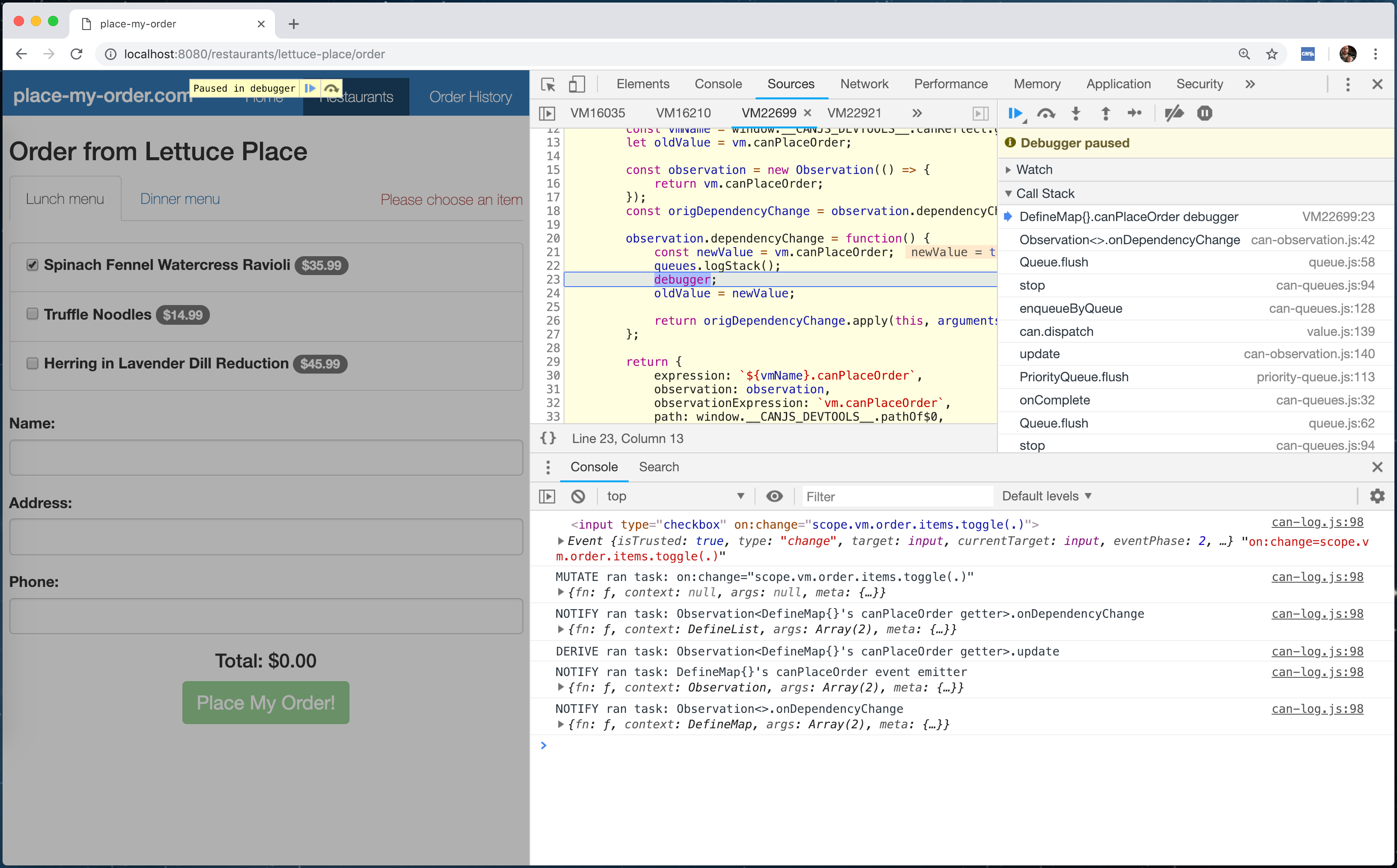The CanJS Devtools Panel Breakpoints Editor Change Breakpoint Debugger