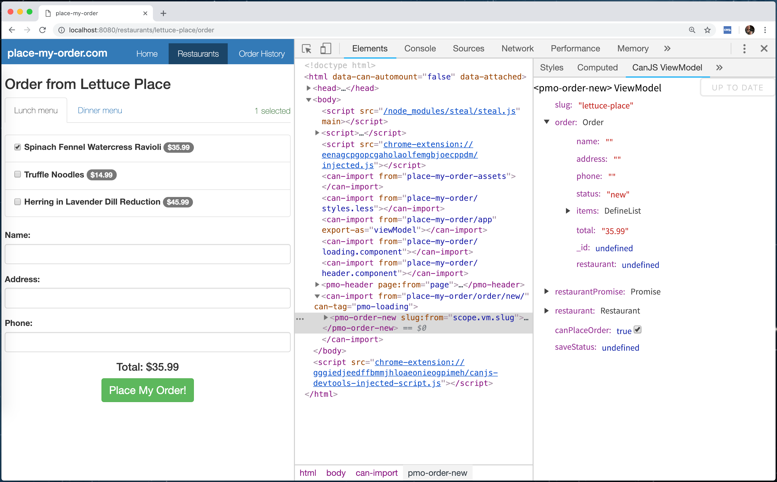 The Chrome Developer Tools Standalone ViewModel Editor